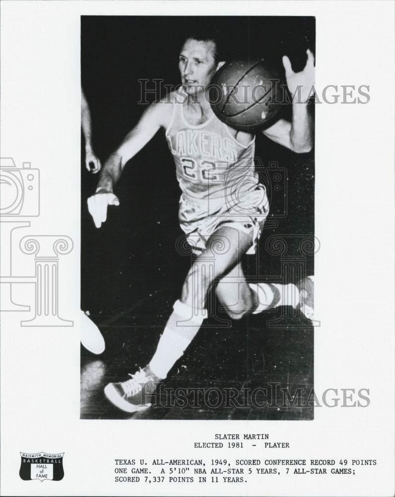 Press Basketball Hall of Fame Player Slater Martin of L A