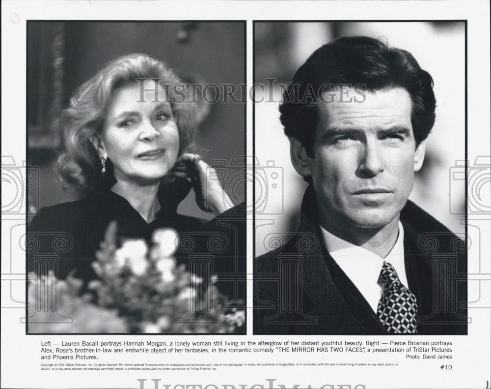 "1996 Press Photo Lauren Bacall and Pierce Brosnan in ""The Mirror Has Two Faces"" - Historic Images"