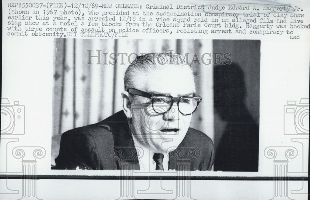 1969 Press Photo Criminal District Judge Edward Haggerty Clay Shaw Trial - Historic Images