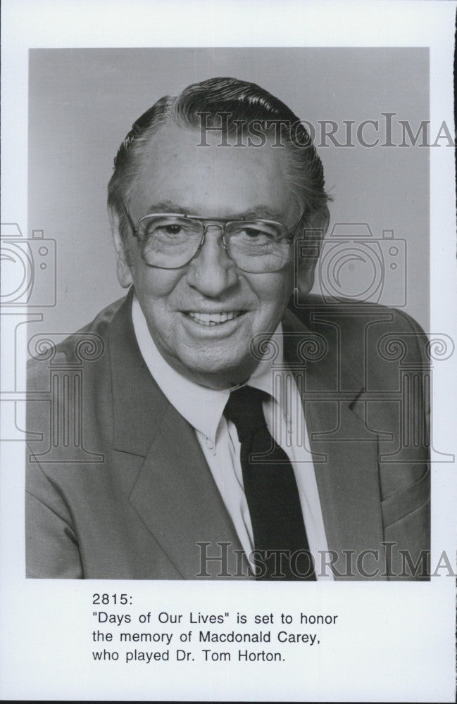 "Press Photo Macdonald Carey 'Dr T Horton on ""Days of Our Lives"" - Historic Images"