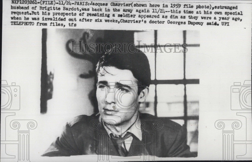 1959 Press Photo Jacques Charrier, estranged husband of Brigitte Bardot - Historic Images