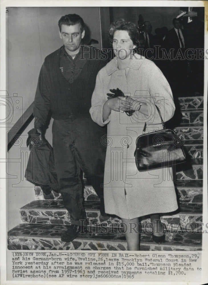 1965 Press Photo Robert Glenn Thompson Eveline Brooklyn Federal Court - Historic Images