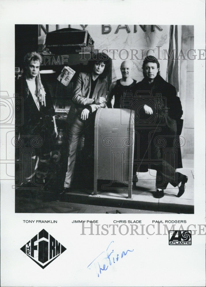 Press Photo Band, The Firm, T Franklin,J Page,C Slade,P Rodgers - Historic Images