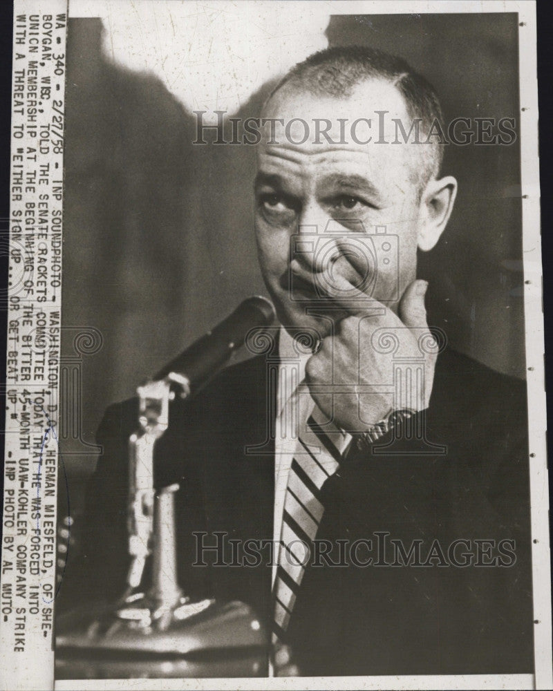1958 Press Photo Herman Meisfeld at the Senate Rackets Committee meeting - Historic Images