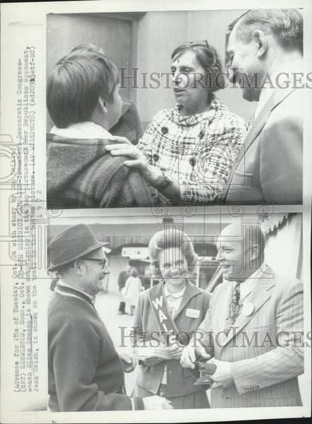 1972 Press Photo Dem Congresswoman Ellas Grasso & Rep. Jack Walsh - Historic Images