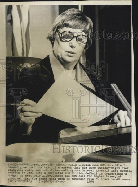 1975 Press Photo Conn. Gov Ella T. Grasso - Historic Images