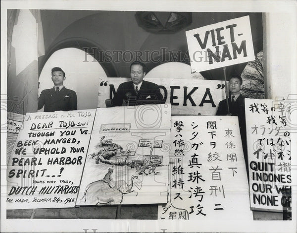 1949 Press Photo Dr Nguyren Rinh Nhiep Indonesia Protest Dutch Police Action - Historic Images