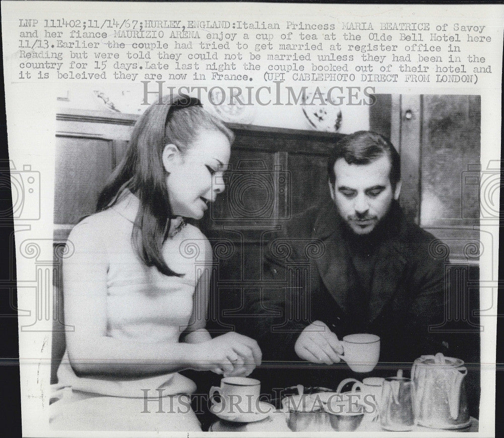 1967 Press Photo Princes Maria Beatrice of Italy & Maurizio Arena - Historic Images