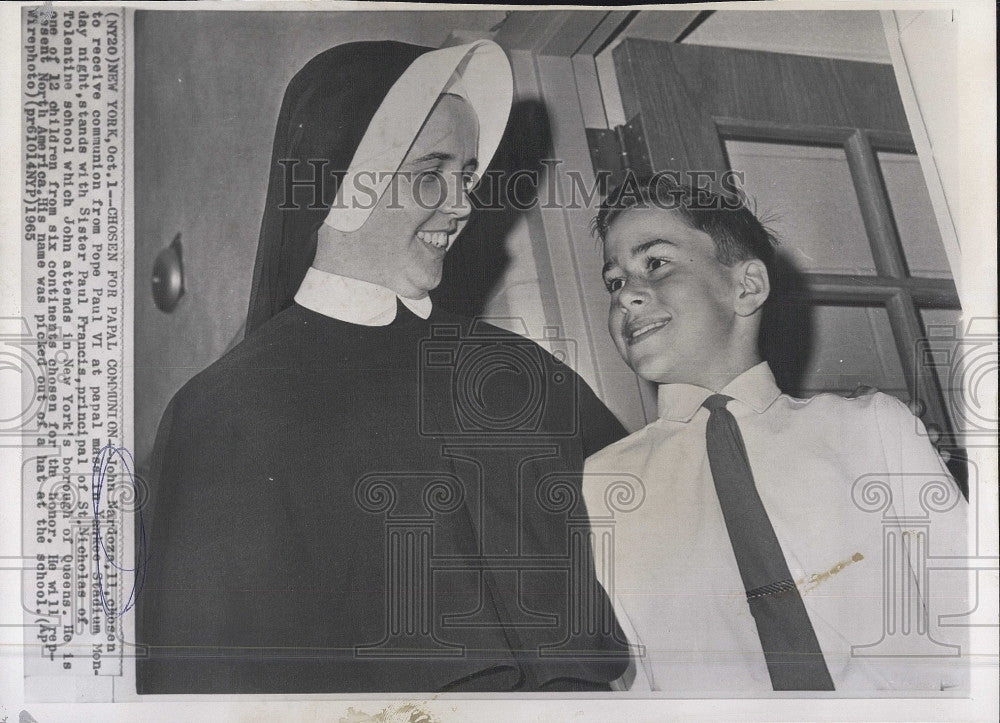 1965 Press Photo John Nardoza, 11, Sister Paul Francis, Principal St. Nicholas - Historic Images