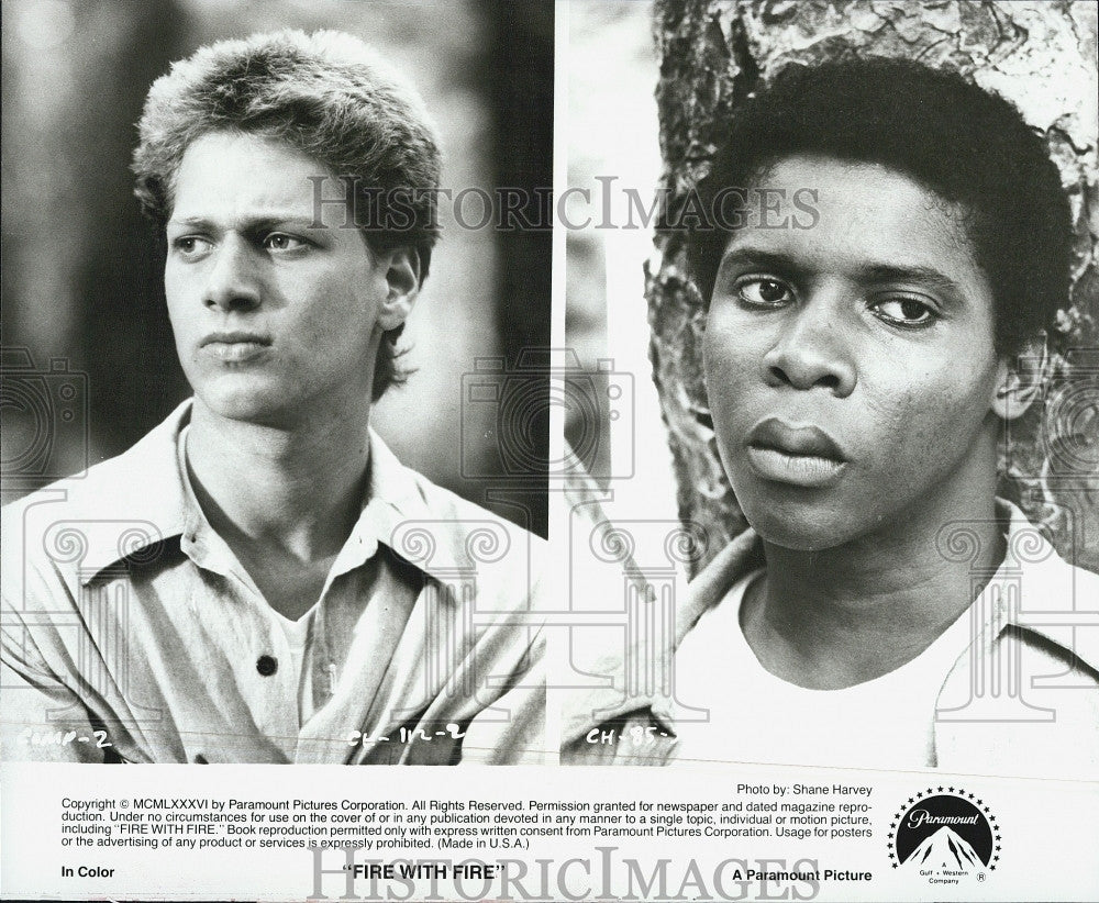 "1986 Press Photo Jeffrey Jay Cohen & David Harris in ""Fire with Fire"" - Historic Images"