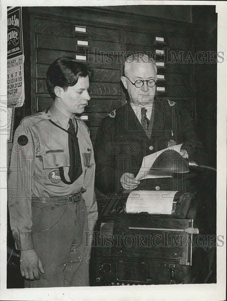 1941 Press Photo Boy Scout Chief Melvin Shurmaster & Police Chief CM Finn - Historic Images