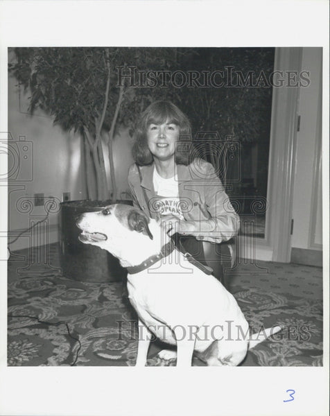 1992 Press Photo Lady with Dog - Historic Images