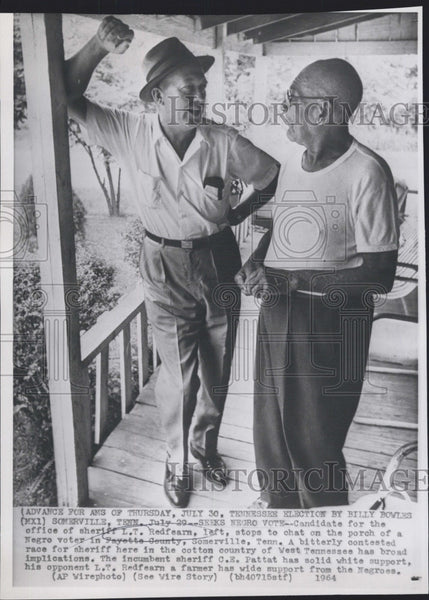 1964 Press Photo Candidate for office of Sheriff L T Redfearn Somerville TN - Historic Images