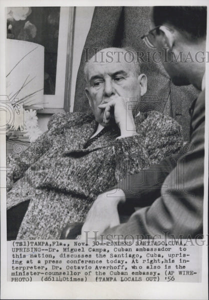 1956 Press Photo Dr Miguel Campa, Cuban Amb to U.S. - Historic Images