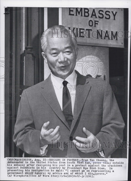 1963 Press Photo Tran Van Chuong,Vietnam Amb to the U.S. - Historic Images