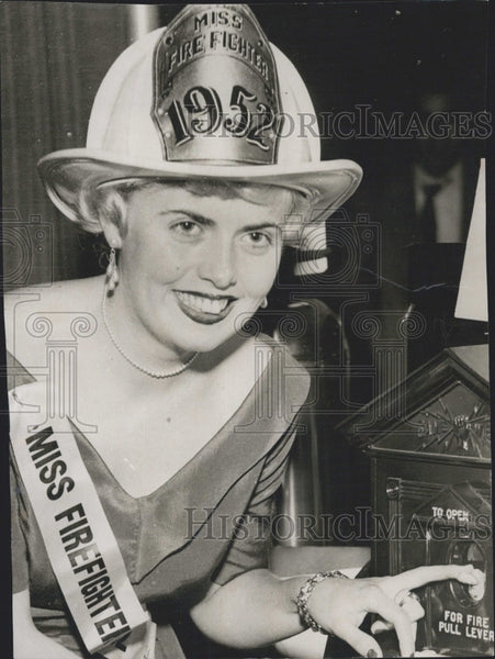 "1954 Press Photo Ann Dovovan, ""Miss Firefighter"" Beauty Contestant - Historic Images"