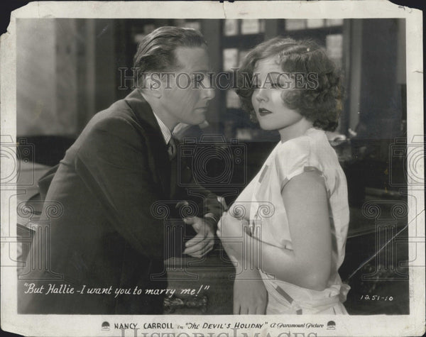 "1931 Press Photo Nancy Carroll & Phillipe Holmes ""The Devil's Holiday"" - Historic Images"
