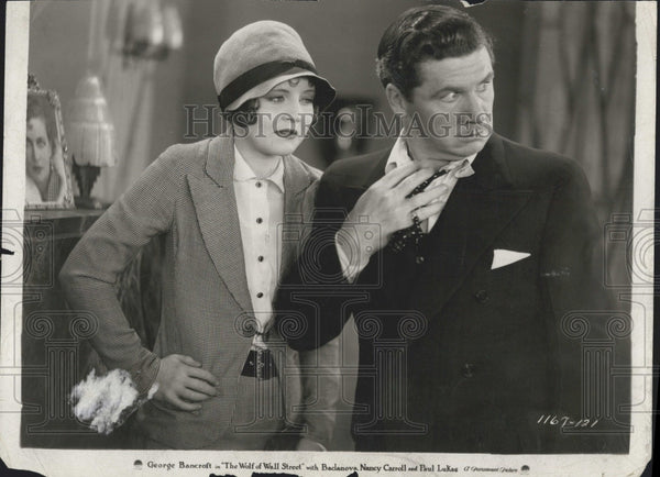 "1929 Press Photo Nancy Carroll & George Bancroft ""The Wolf of Wall Street"" - Historic Images"