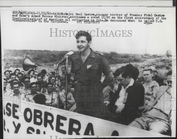 1960 Press Photo Major Raul Casto giving speech denouncing U.S. intervention - Historic Images