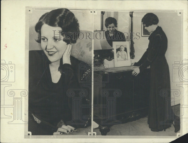 1932 Press Photo actress Sue Carol helps friend adopt baby - Historic Images
