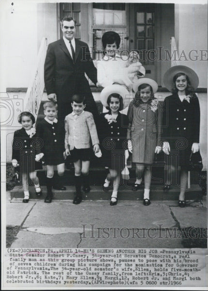 1966 Press Photo Robert Casey Pennsylvania Governor Candidate With Family - Historic Images