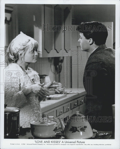 "1955 Press Photo  Kristin Harmon & Ricky Nelson star in ""Love and Kisses"" - Historic Images"
