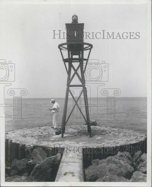 1955 Press Photo Venice California Tower and Blinker Warning Light - Historic Images