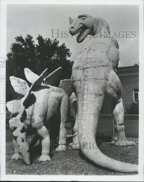 1966 Press Photo Dinosaurs at Dinosaurland in Utah at a museum - Historic Images