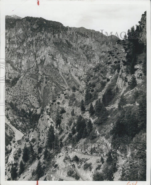 1958 Press Photo Nature scenes of mountains in Utah, Timpanogos Cave area - Historic Images