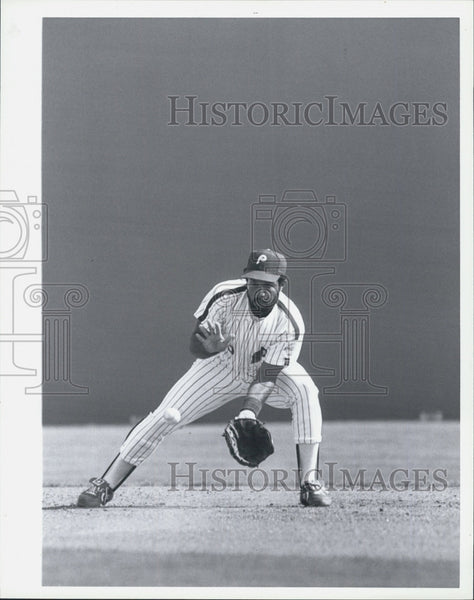 1987 Press Photo Baseball Player Luis Aguayo Philadelphia Phillies - Historic Images