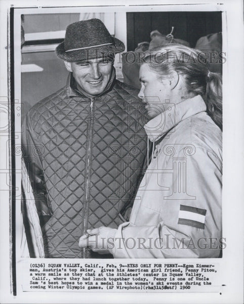 1960 Press Photo Egon Zimerman,  Austrian skier & girlfriend Penny Pitou at Olympics - Historic Images