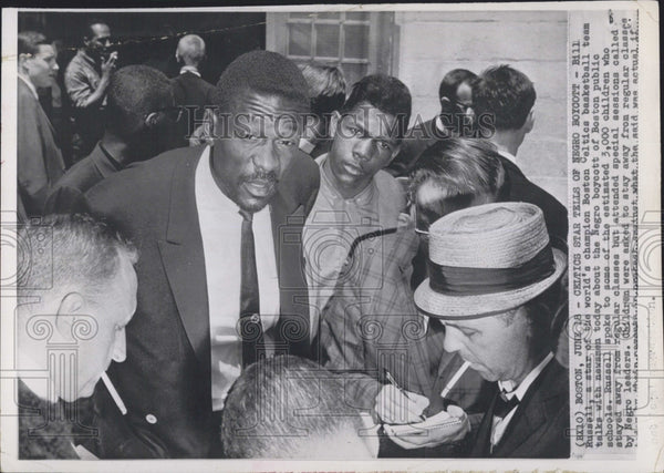 1968 Press Photo Celtics Player Bill Russell Speaking To 3,000 Children - Historic Images