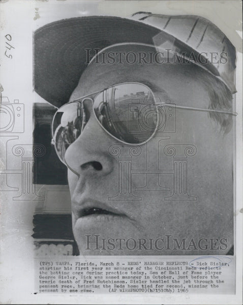 1965 Press Photo Dick Sisler, manager of the Cincinnati Reds - Historic Images