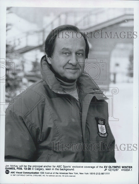 "1987 Press Photo Jim McKay, anchor for ""XV Olympic Games"" - Historic Images"