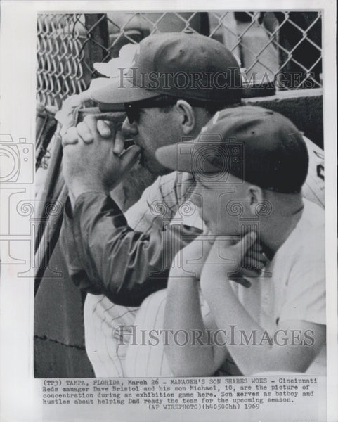 1969 Press Photo Reds manager Dave Bristol, son Michael - Historic Images