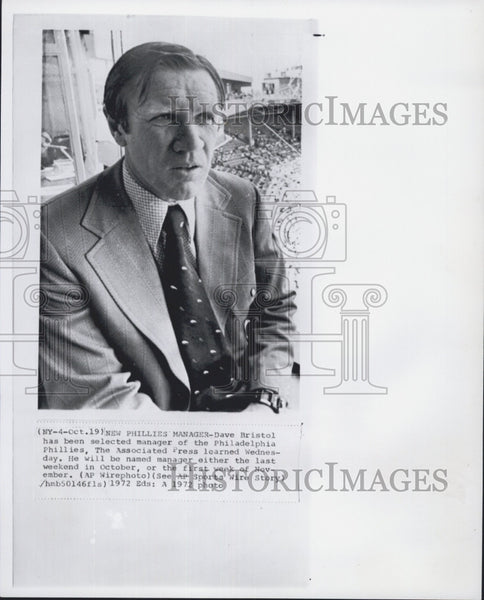1972 Press Photo Dave Bristol was selected as manager of Philadelphia Phillies - Historic Images