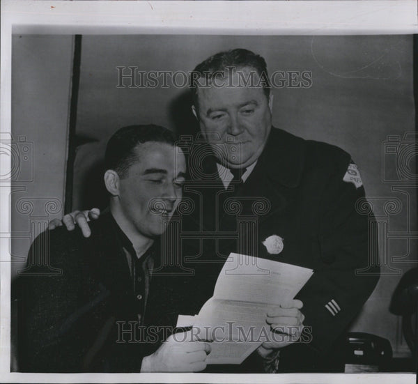 1957 Press Photo Jim O'Toole and his dad after signing with Cinn Redlegs - Historic Images