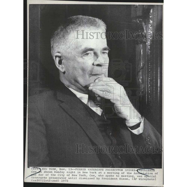 1973 Press Photo Former Watergate Prosecutor Archibald Cox at Bar Assoc, meeting