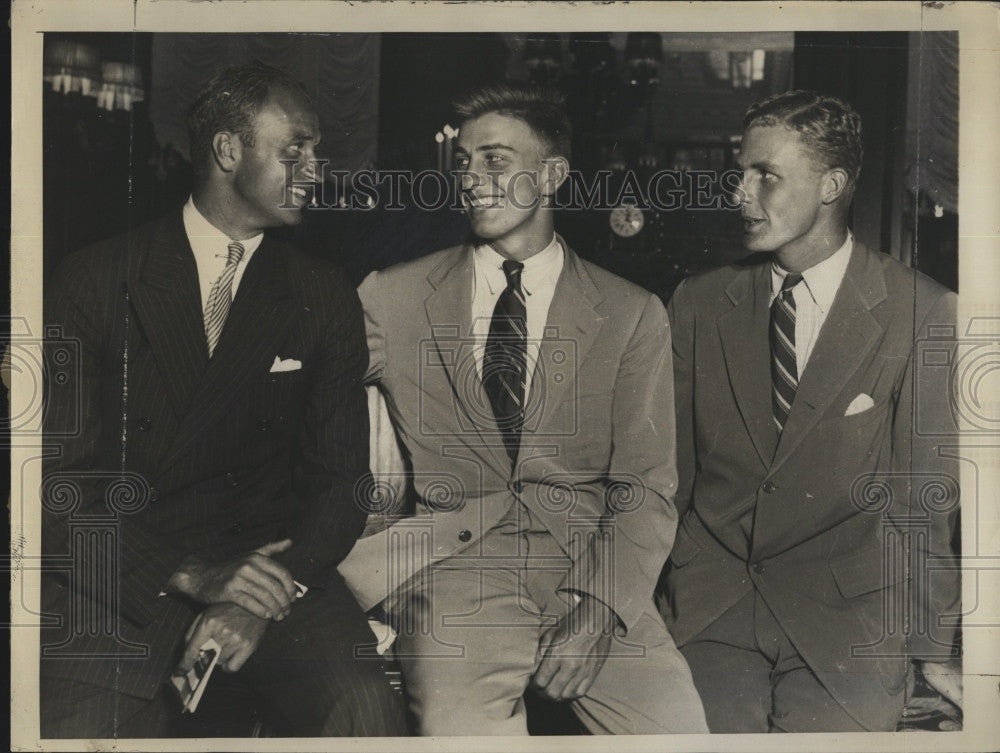 1934 Press Photo Pres. sons James & Franklin Roosevelt & D Eckson - Historic Images