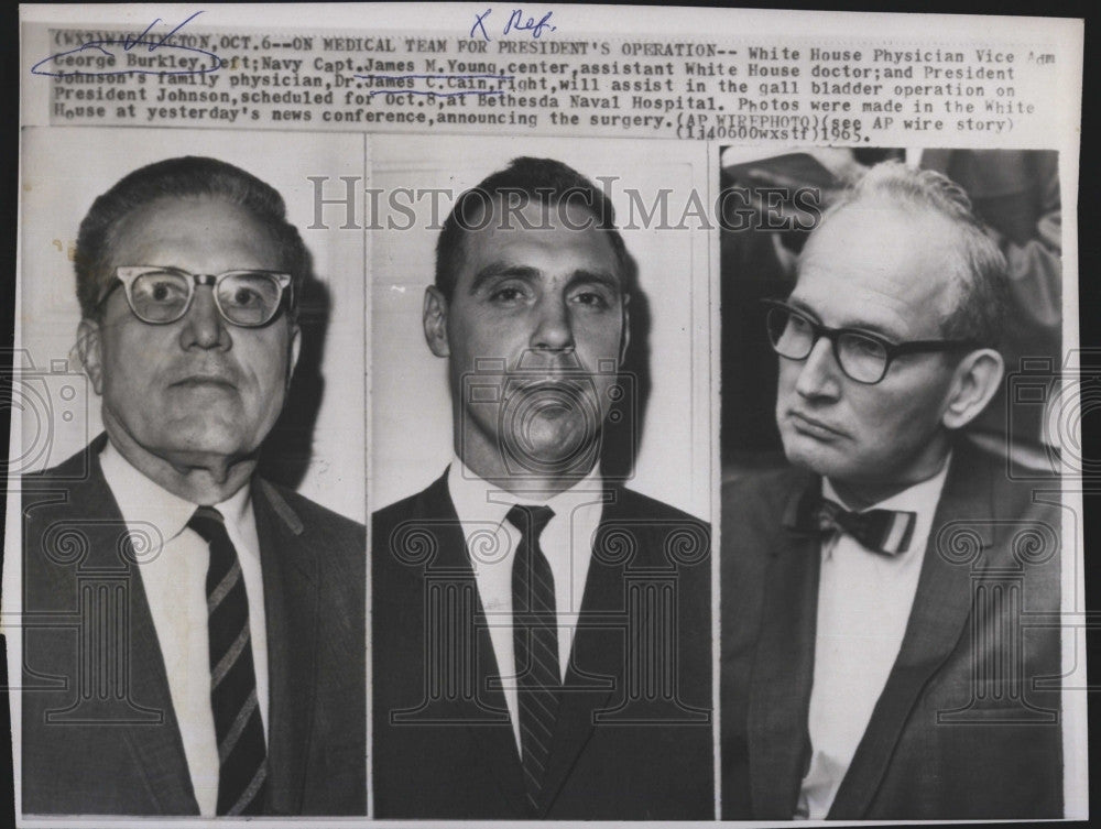 1965 Press Photo Vice Adm George C Burkley, White House physcian,JN Young J Cain - Historic Images