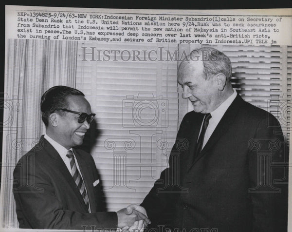 1963 Press Photo Indonesian Foreign Minister Subandrio, Dean Rusk - Historic Images