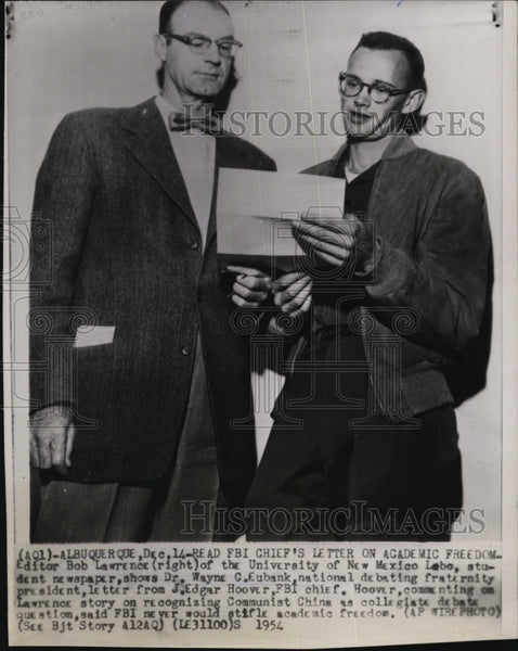 1954 Press Photo Editor Bob Lawrence of U. of New Mexico Dr Wayne C Eubank re - Historic Images