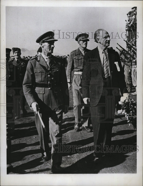 1944 Press Photo British Lt. Gen. Ronald Scobie and George Papandreou in Greece - Historic Images