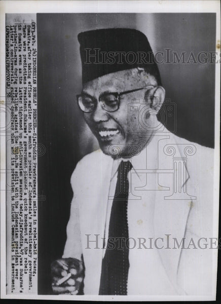 1958 Press Photo Sjafruddin Prawiranegara of Sumatra - Historic Images