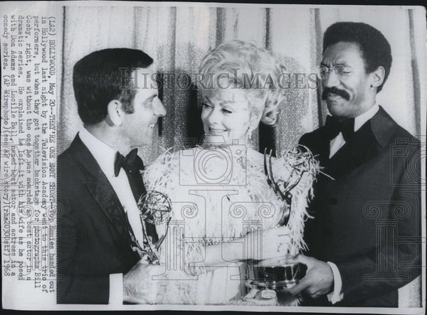 1968 Press Photo Don Adams, Lucille Ball and Bill Cosby get Emmies - Historic Images