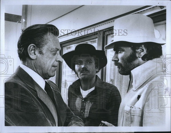 "1976 Press Photo William Holden, Dan Van Husen, Franco Nero in ""21 HRS at Munich - Historic Images"