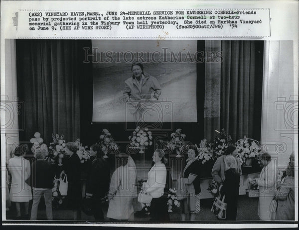 1974 Press Photo memorial service for late actress Katherine Cornell - Historic Images