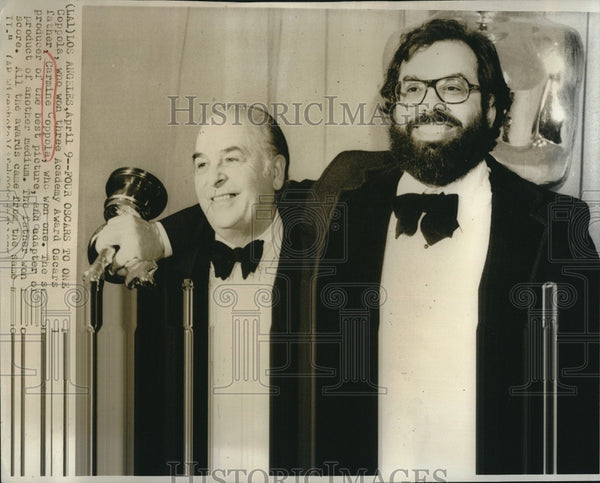 1975 Press Photo director Francis Coppola and father, Carmine Coppola at Oscars - Historic Images