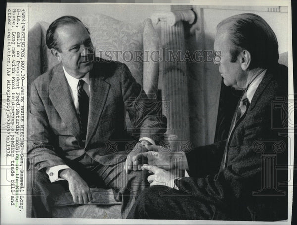 1974 Press Photo Russell Long and President Ford in White House Meeting - Historic Images