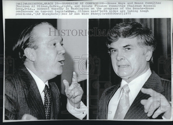 1975 Press Photo Al Ullman and Russell Long in Washington - Historic Images